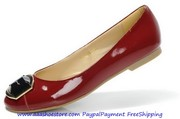 Salvatore Ferragamo The Fun Red Patent Leather Ballerina Flats ON SALE