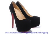 Christian Louboutin Daffodile 160 Suede Platform Pumps Black ON SALE F