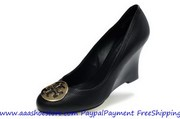 New year promotion Tory Burch Sally Wedge Black Sheep Skin Leather Fre