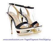 Wholesale Gianmarco Lorenzi Black Patent leather Platform Golden Stile