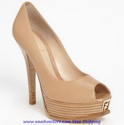 Wholesale Fendi Beige Leather 'Fendista' Peeptoe Platform Pumps Paypal