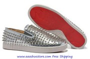 Christian Louboutin Pik Boat Calf Sliver Spike Man Flat Causal Shoes S