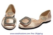 Roger Vivier Ballerina Champagne With Crystal Buckle Flat Woman Shoes
