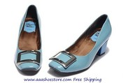 Roger Vivier 45mm Decollete Belle Vivier Blue Paten Leather Pump Woman